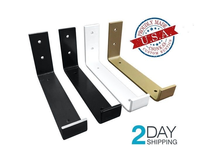 Featured listing image: SINGLE Powder Coated Color Hook Shelf Brackets