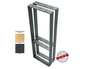 "Square Legs with Middle Shelf (3"" Wide - 1/4"" Thick Metal) (Size Range: 8-20""L x 4-38""H)"