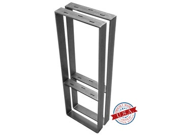 "Square Legs with Middle Shelf  (2"" Wide - 1/4"" Thick Metal) (Size Range: 8-20""L x 4-38""H)"