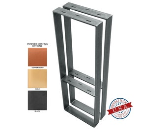 """Square Legs with Middle Shelf  (2"""" Wide - 1/4"""" Thick Metal) (Size Range: 8-20""""L x 4-38""""H)"""