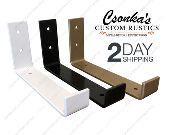 2 Pack - Powder Coated Color Hook Shelf Brackets