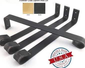 """4 Pack - (1.5"""" Wide - 3/16"""" Thick Metal) (Size Range: 4-24""""L)  Straight Metal Legs"""