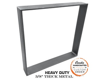 "Heavy Duty Square Metal Legs (Single Leg Ordering) (3/8"" Thick - 3"" Wide) (Size Range: 18-38""L x 18-38""H)"