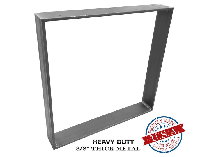 "Featured listing image: Heavy Duty Square Metal Legs (Single Leg Ordering) (3/8"" Thick - 3"" Wide) (Size Range: 18-38""L x 18-38""H)"