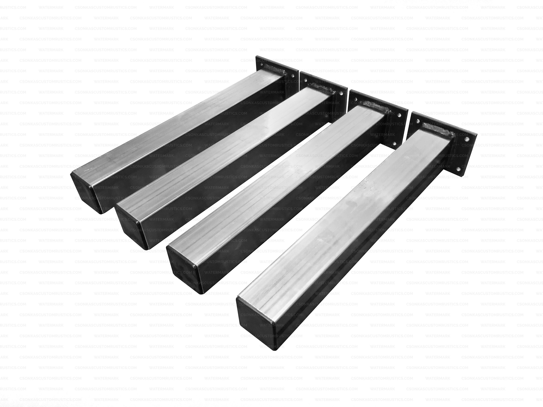 Bench Legs DIY Single - Square Tube Legs Industrial Modern Table Legs Square Tubing Metal Legs 2 Tube - Size Range: 2-21L