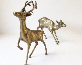 large brass deer, vintage mid century brass animal set for holiday decor, buck, stag, doe