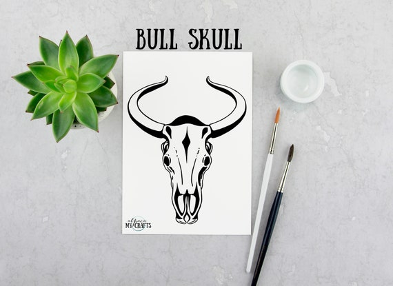 Bull Skull Coloring Page - Hand Drawn - Instant Download