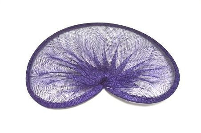 Purple HA057 Sinamay Gathered Shaped Fascinator and Hat Base for Fascinators and Millinery