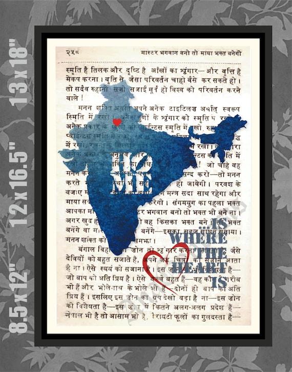 Map of india hindi script bhagvath gita india print india etsy image 0 gumiabroncs Images