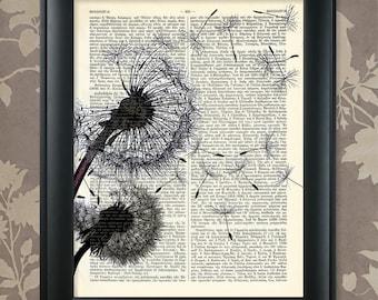 Dandelions Blowing in the Wind / Dandelions Print / Dandelions Art / Upcycled Antique Dictionary Art Print /  Vintage Greek Encyclopedia