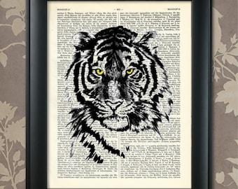 Tiger Head Print, Tiger Poster, Tiger Print, Tiger art, Tiger wall art, Tiger Dictionary Art, Wildlife decor, Wildlife Art, Wildlife Print