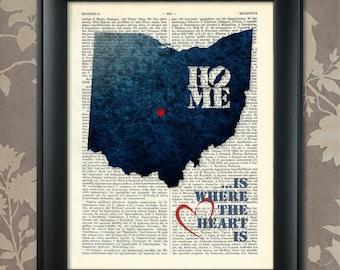 Ohio Art Print, Ohio Print, Ohio Map Art, Ohio Wall Art, Ohio Pride, Ohio Map Print, Ohio Map, Ohio Decor, Ohio Gift, Map of Ohio