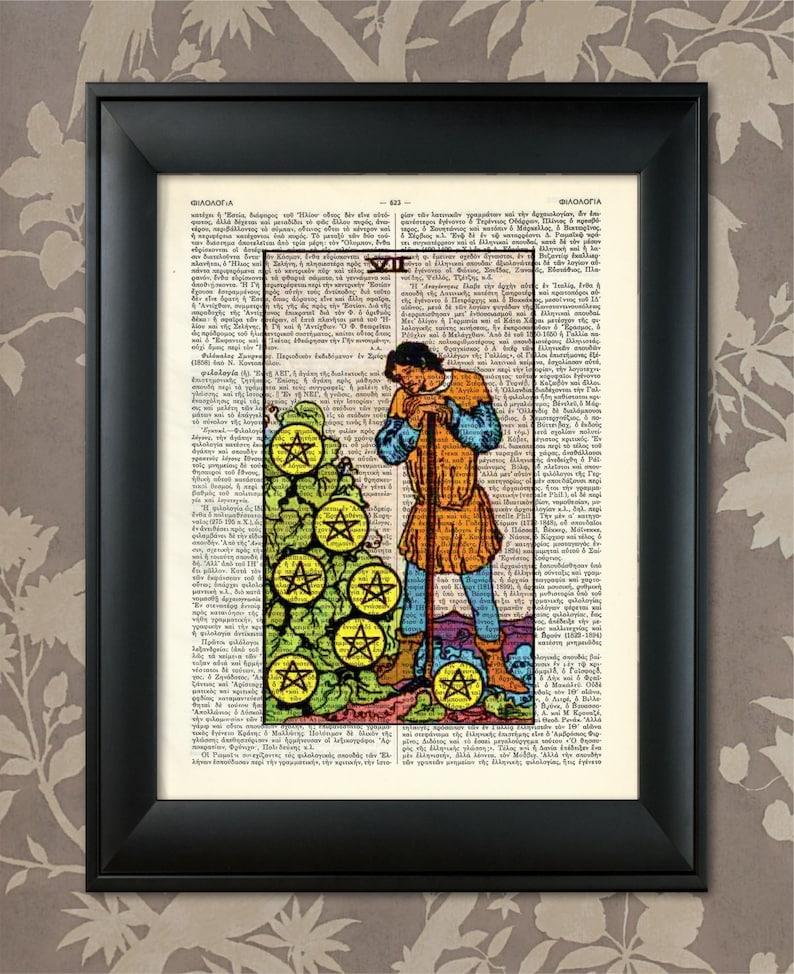 Tarot Print,Tarot art,Tarot wall art,Tarot Gift,Tarot Cards,Tarot Deck,Minor Arcana Tarot Card Poster Tarot Card Print Seven of Pentacles