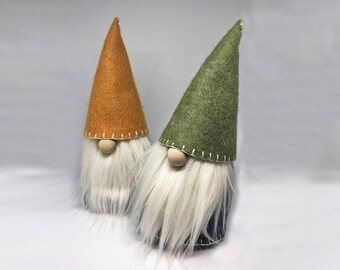 Hand Embroidered Nordic Autumn gnome, Nisse, tomte,  hoiday and Christmas home decor