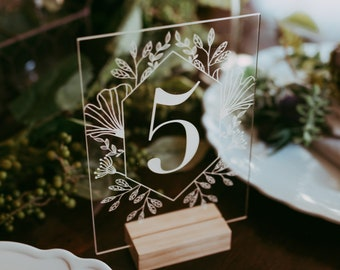 Garden Acrylic Table Numbers - Modern Wedding Sign - Wedding Table Decor - Outdoor Boho Clear Table Number - Romantic Wedding Table Decor -
