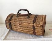 Old straw picnic bag, antique bag, collectible bag