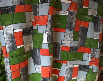 Fabric vintage 1950s, fifties, curtain, tablecloth, fabric coupon, st Patrick's day gift