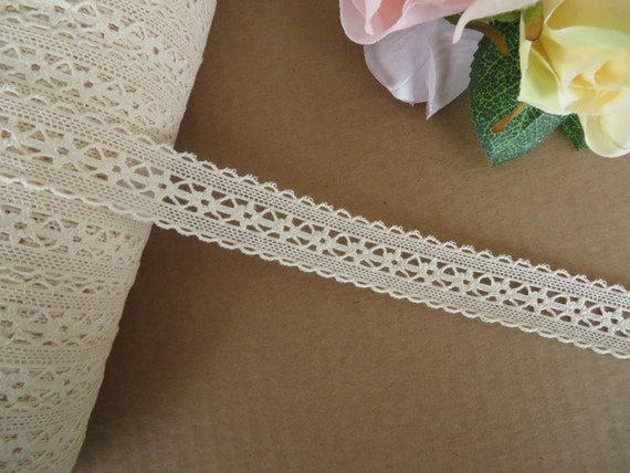 """Cotton Leavers Lace 1/""""  2.4cm natural cream craft trim Top Quality from UK"""