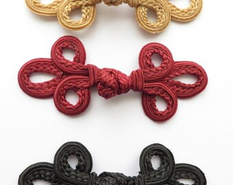 2 sets of hand-stitched frog fasteners closure trimmings black wine-red or gold