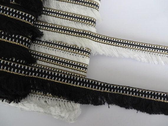 Fringe trimming 4cm width choose white multi gold blue or black   per metre