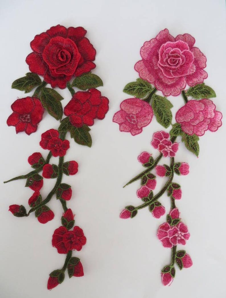patch pink and burgundy UK Seller Guipure lace flower embroidered applique