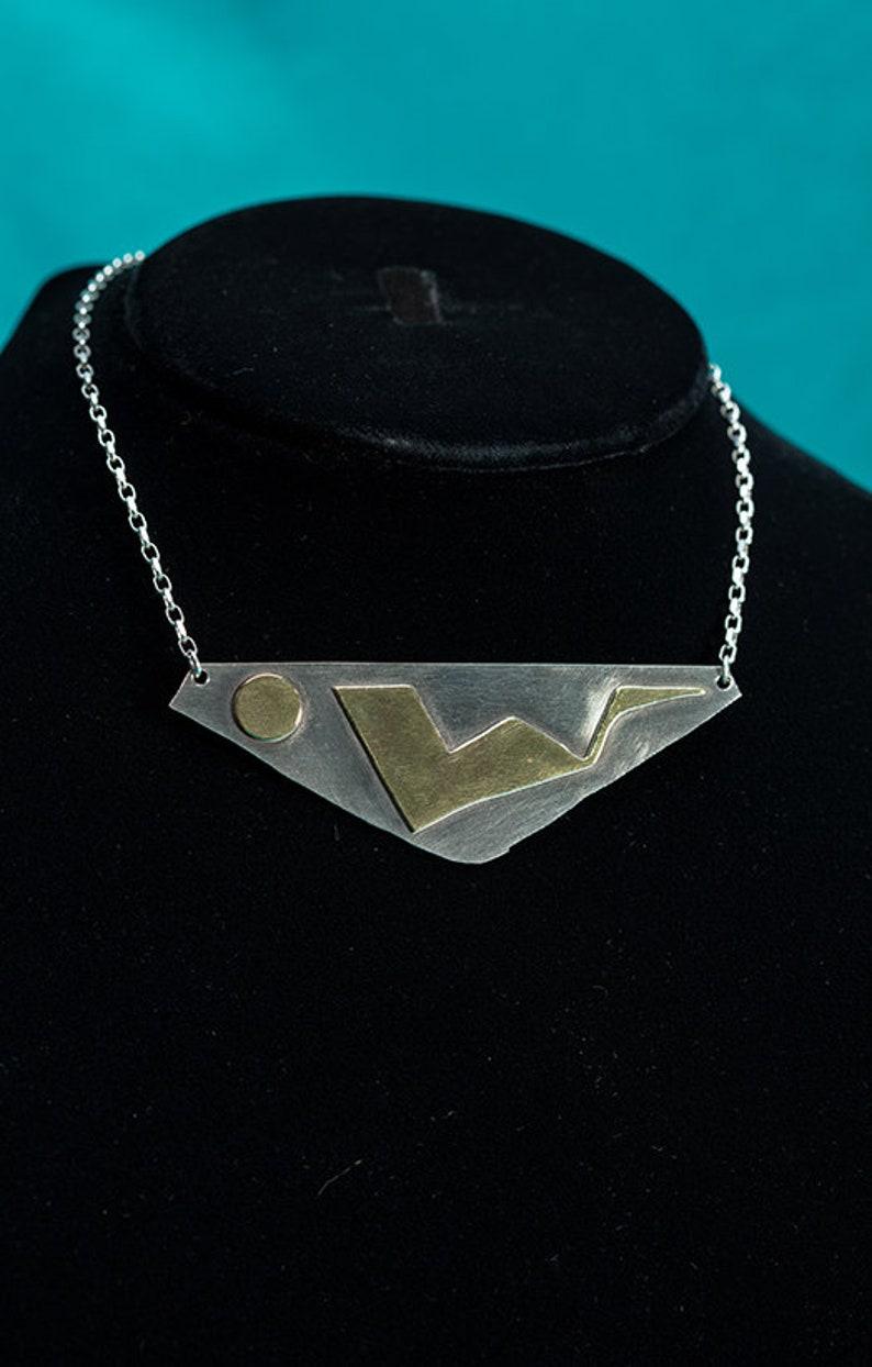 Brass Doodles on NIckel Triangle Phoenix Necklace