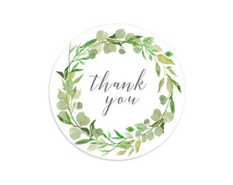 Thank you stickers, Greenery labels, Greenery wedding, Eucalyptus wreath, Greenery wreath, Floral stickers, Floral labels, Leaves sticker