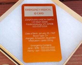 Medical Alert Card Etsy