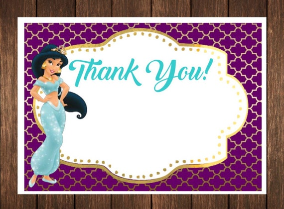 Princess Jasmine Birthday Invitation Free Thank You Card File With Purchase