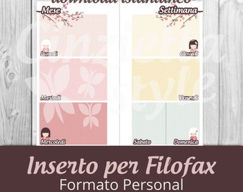 inserto 1 week 2 pages per filofax Personal  Kimmidol - Printable -