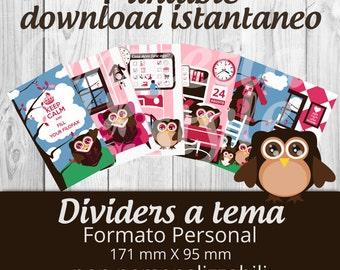 Dividers PERSONAL per filofax GUFFY- Printable non personalizzabili -