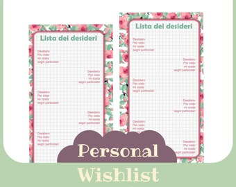 "inserto ""lista dei desideri"" Personal butterfly style - Printable -"