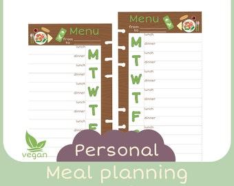 refill Personal Meal planner vegan - Printable -