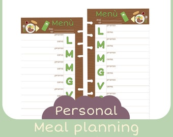 refill Personal Meal planner - Printable -