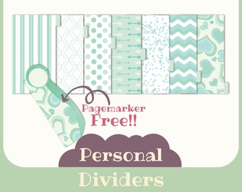 7 Dividers for filofax PERSONAL- Printable -