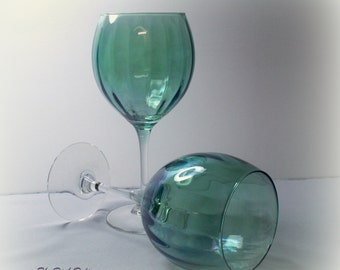 Luminarc Teal Monaco Optic Iridescent Goblets Stemware Vintage France (Set of 2)
