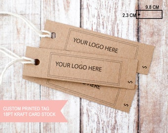 Large Rectangular hang tags custom printed brown kraft tear away price perforated