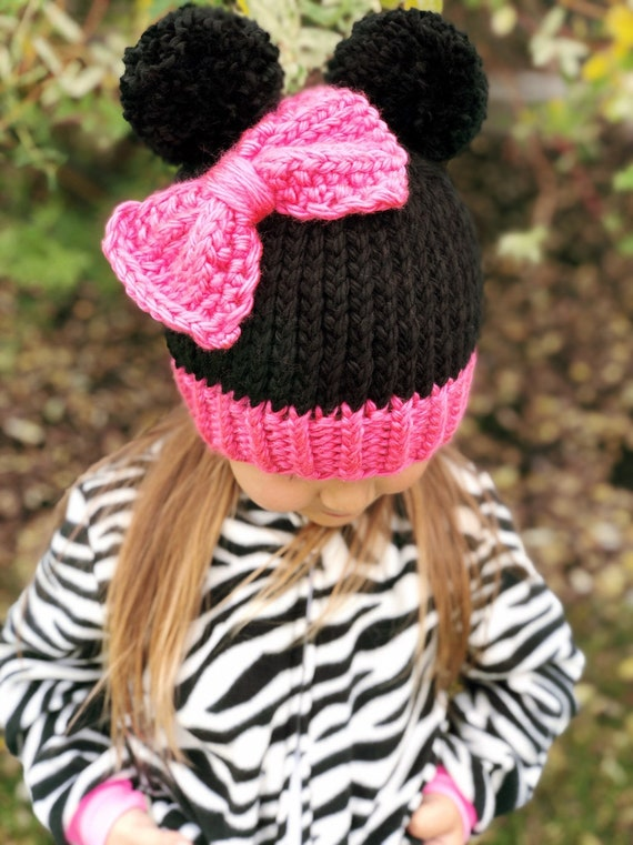 Minnie Mouse Beanie Hat Girls Disney Hat Minnie Ears  32d807ca6079