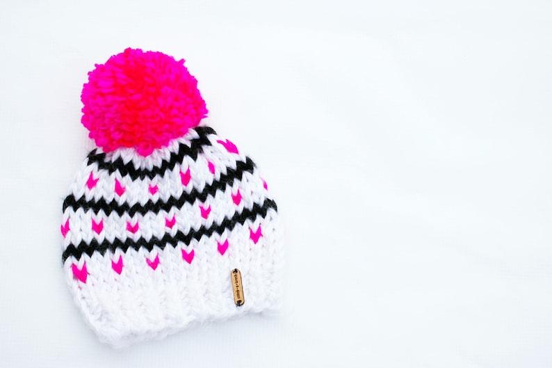d58ff73b091 Girls Pink Knit Beanie Hat with Pom Girls Winter Hat Knit