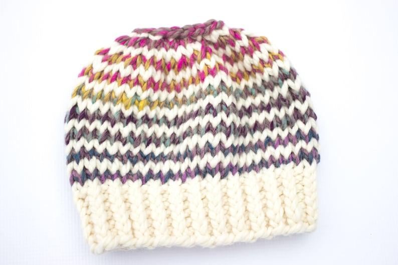 6cd0b430f5c Messy Bun Pony Tail Beanie Hat Stripe Pony Tail Hat Messy