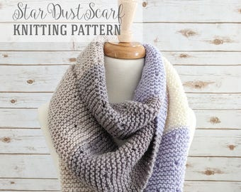 Knitting Pattern - Star Dust Scarf Pattern, Easy Knitted Scarf Pattern - PDF Instant Download