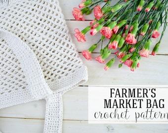 CROCHET PATTERN, Crochet Farmer's Market Bag Pattern, Crochet Tote Pattern, Market Tote Pattern - PDF Download
