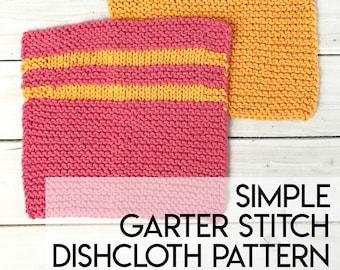 Garter Stitch Dishcloth Pattern, Garter Stitch Washcloth Pattern, Easy Dishcloth Pattern, Knit Dishcloth Pattern - Printable PDF Download