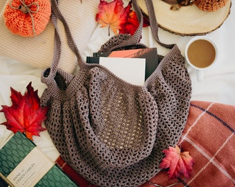 CROCHET PATTERN, Crochet Market Bag Pattern, Crochet Fall Bookshop Market Bag Pattern, PDF Pattern Download