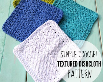 CROCHET PATTERN, Crochet Textured Dishcloth Pattern, Crochet Dishcloth Pattern, Crochet Washcloth Pattern - Printable PDF Download