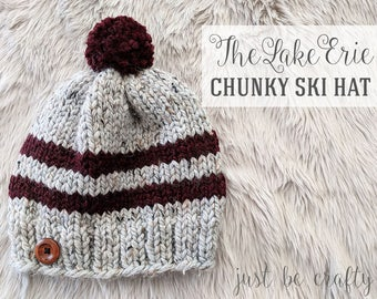 Lake Erie Chunky Ski Hat Pattern, Knitting Pattern, Knitted Hat Pattern, Printable PDF - Instant Download
