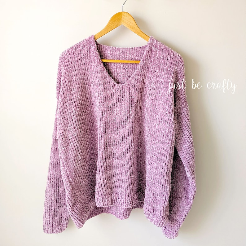 KNITTING PATTERN Velvet Slouchy V-Neck Knit Sweater Pattern image 0