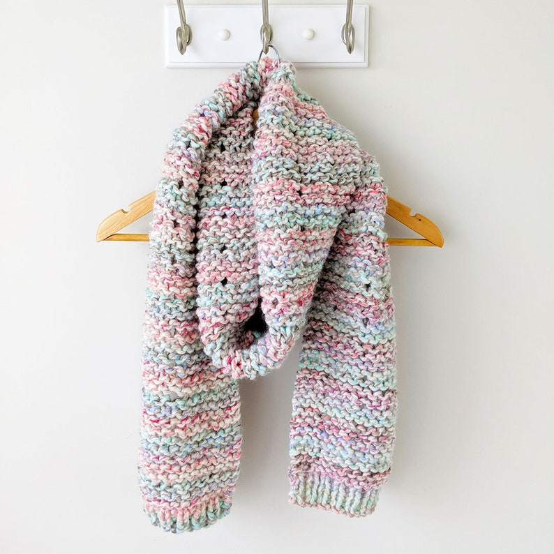 KNITTING PATTERN Knit Scarf Pattern  Cotton Candy Knit Scarf image 0
