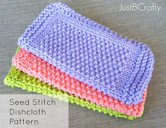 Seed Stitch Dishcloth Pattern Knitted Dishcloth Knit Etsy