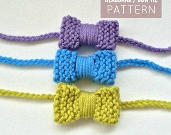 Knit Mini Bow Headband / Bow Tie Pattern PDF DOWNLOAD, Bow Headband Pattern, Knitted Bows, Knitted Bow Tie Pattern, Mini Bow Headband